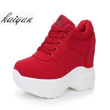 Женские кроссовки из сетчатого материала; повседневные кроссовки на платформе; белые туфли на каблуке 10 см; сезон осень; дышащая женская обувь, увеличивающая рост