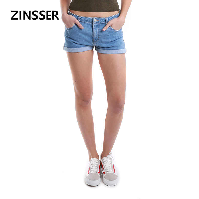Autumn Winter Women Denim Basic Short Medium Waist Stretch Casual Rolling Bottom Crimping Ripped Washed Blue Female Lady Short