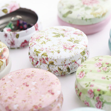 4pcs/lot Flower Fancy Tea Caddy Box With Lid Portable Round Metal Tins