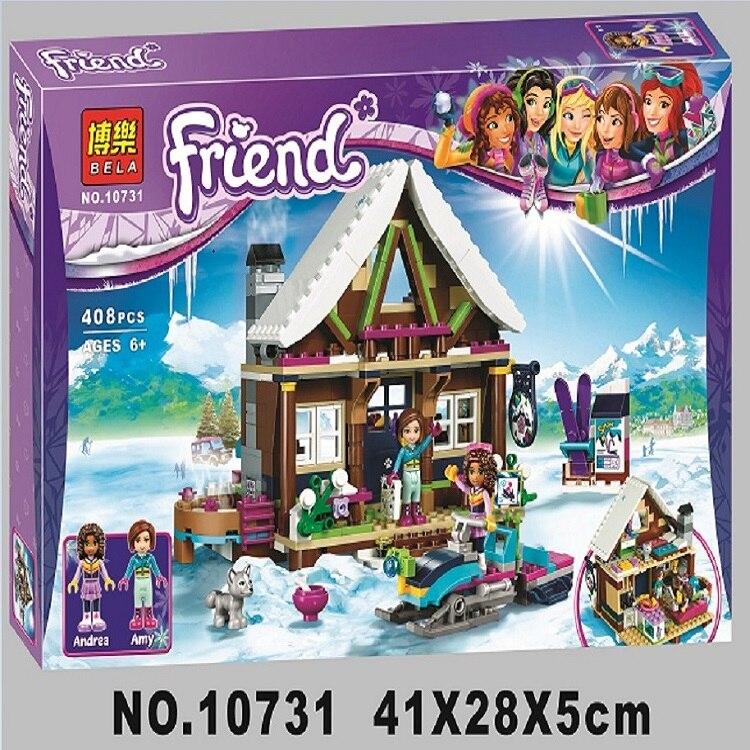408 pièces Ami 10731 Neige Chalet Resort Modele Kit de Construction Blocs Briques Fille Jouets Pour Enfants Cadeau
