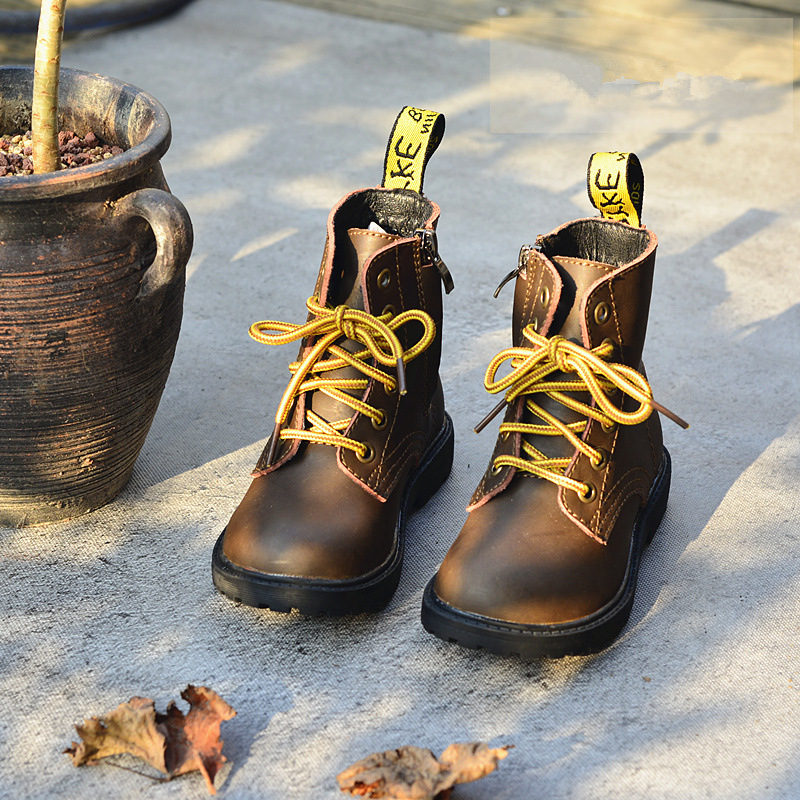 Retro Genuine leather Children Punk Boots Classic crazy-horse Leather Boys Martin Boots kids Shoes Western Boots