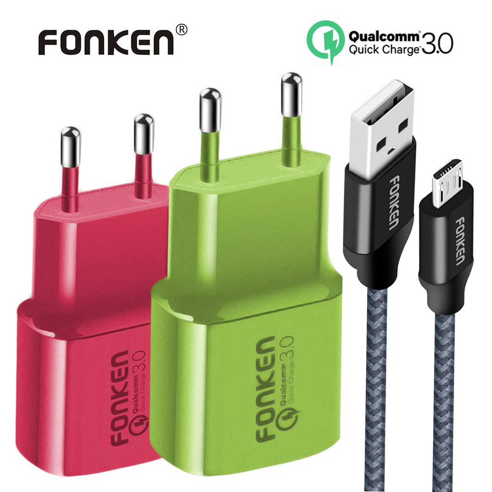 FONKEN Colorful USB Charger Quick Charge 3.0 Fast Charger 18W QC3.0 QC2.0 with Quick Charging Cable for Mobile Phone Adapter