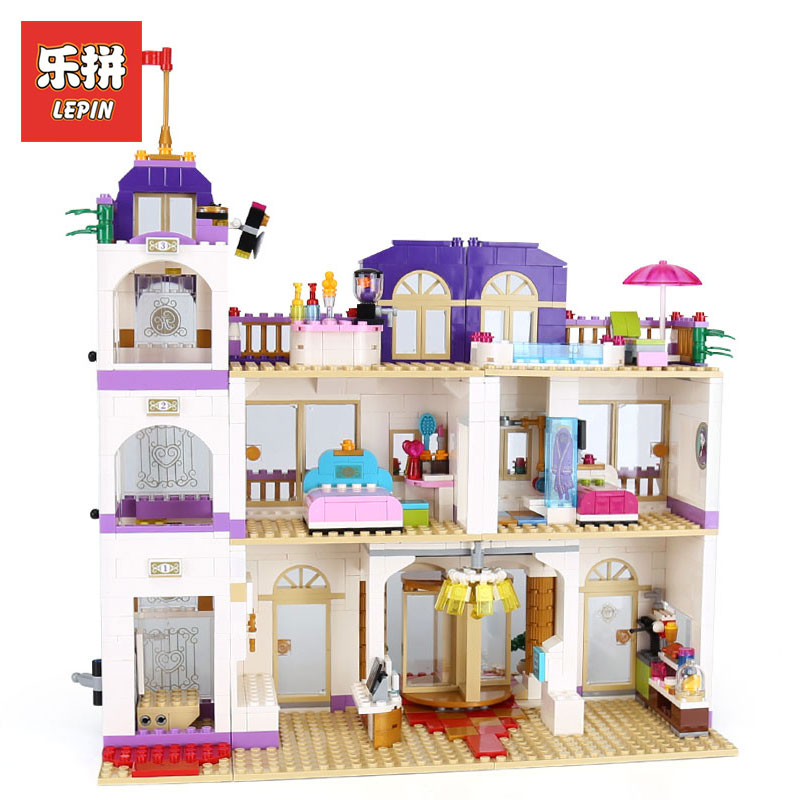 Lepin 01045 New 1676Pcs Girls Series The Heartlake Grand Hotel Set compatible With Legoing 41101 Building Blocks Bricks Gift lepin 01045 girls series the heartlake grand hotel model set building blocks bricks eucational toys for girls gift 41101