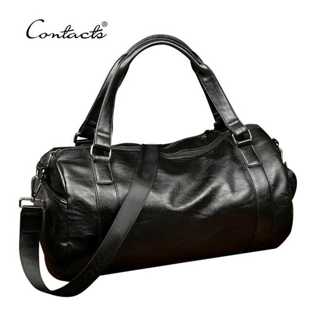 CONTACT'S High Quality Men Travel Bag Leather Fashion Male Handbag Vintage Shoulder Bag Brands Men Messenger Duffel Bag