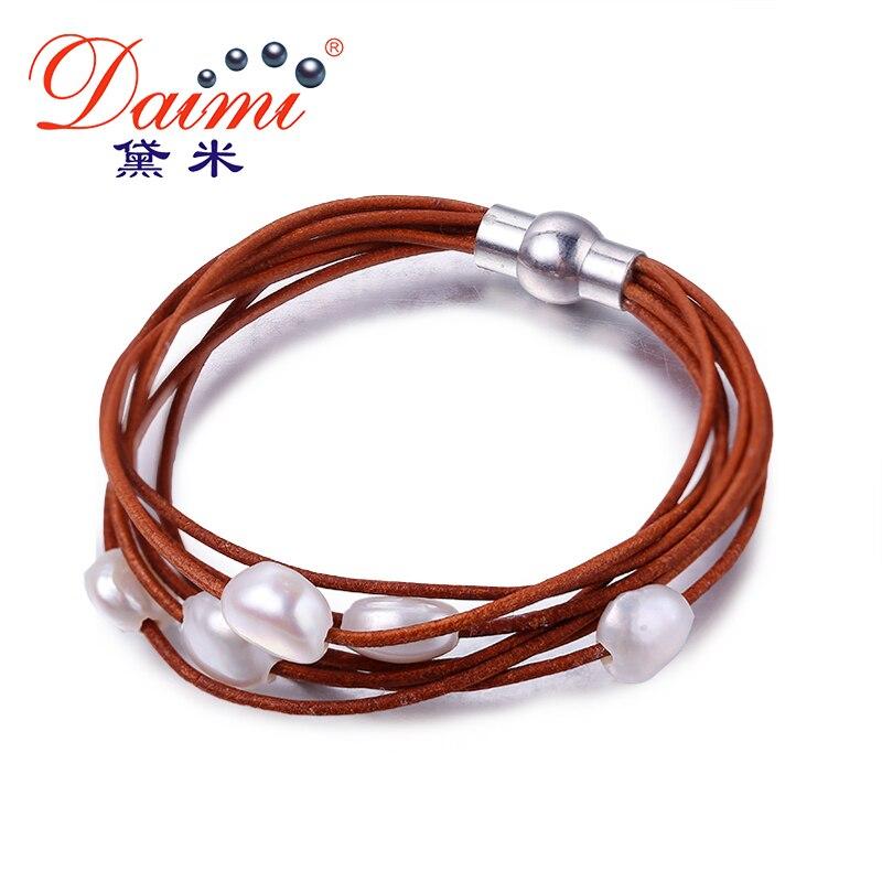 DAIMI 9-10mm Weiß Natürliche Barock Perlenarmband 7 Schichten Lederarmband Großhandelspreis Magnetverschluss