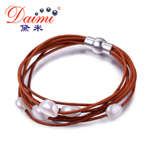 DAIMI 9-10mm White Natural Baroque Pearl Bracelet 7 Layers Leather Bracelet Wholesale Price Magnet Clasp