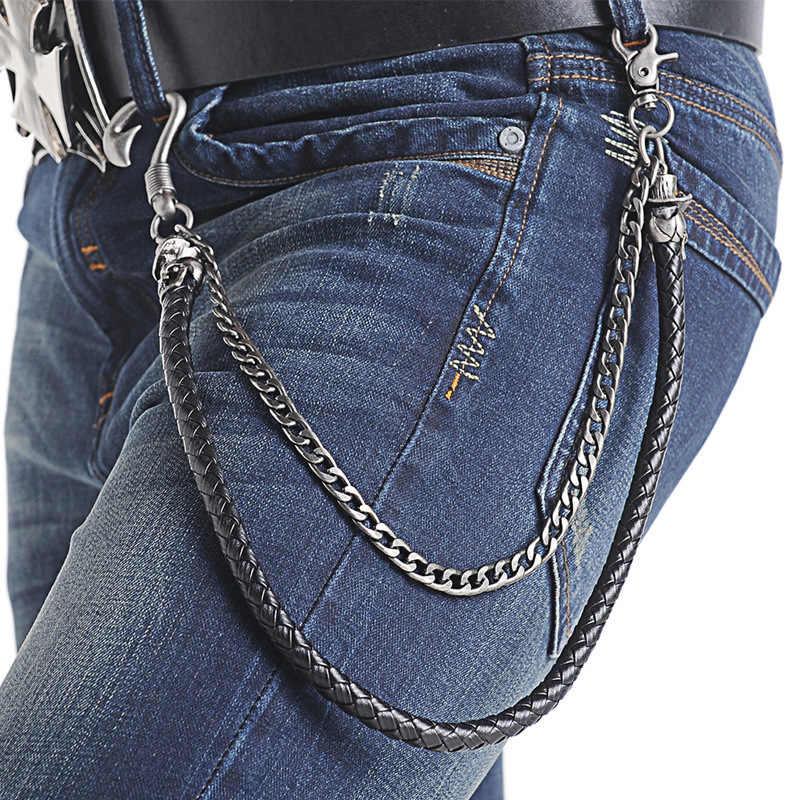 Moda nuevos accesorios de cintura hip-hop Punk Rock aleación cráneo gran gancho PU cinturón tejido pantalones vaqueros cadenas