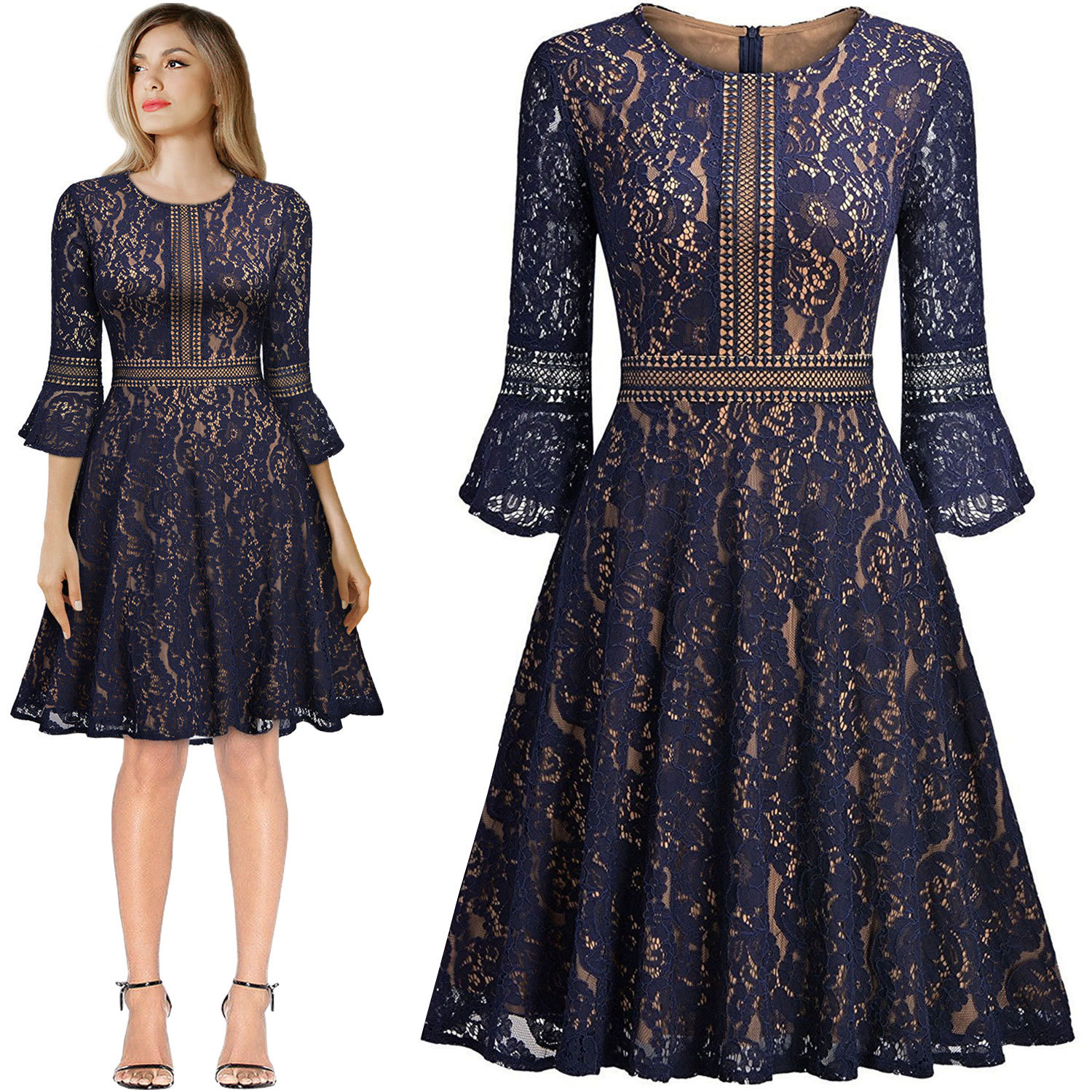 2019 Hot Sale Spring New European Style Lace Dress 3/4 Sleeve Elegant Flare Sleeve Big Pendulum Vintage Dress Free Shipping