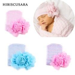 Новинка 2017, детская шапочка, шапка, эластичная Хлопковая полосатая шапочка с 3d цветком, шапка для новорожденных, весна-осень, шапки, реквизит...