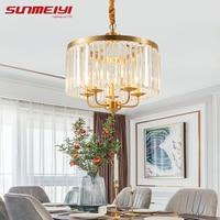 Постмодерн медные кристаллы люстры для спальни кухни коридора скандинавский светодиодный светильник для гостиной светильники zyrandol wiszacy