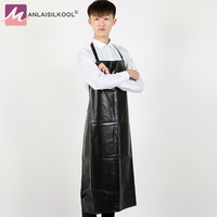 2017 Waterproof Pure Black PVC Aprons Halterneck Hotel Car Wash Kitchen Apron Household Cleaning Tools And