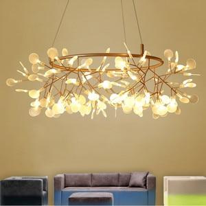 Image 5 - Modern LED Lamp Firefly Tree Branch Leaf Pendant Light Round Flower Suspension Lamps Art Bar Restaurant Home Lighting AL127B