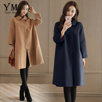 YuooMuoo New Winter Coat Single Breasted Wool Coat Elegant Drop shoulder Cashmere Coat Brand Quality Mid Long Coats and Jackets