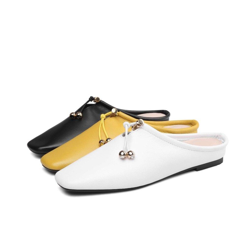 Pêcheur Femme Cuir À Slip De Enceinte Bout Dame Mules Fleur jaune Chaussures Carré 2019 L22 Noir Voyage En L'extérieur Doux Pleine Vintage Pantoufles On blanc HnaO7