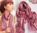 Lenços de Pashmina lenço roxo Grande China Muçulmanos Hijab 100% cetins de seda lenços xales pashmina Envoltório Cor de Rosa 2016 Senhoras marca