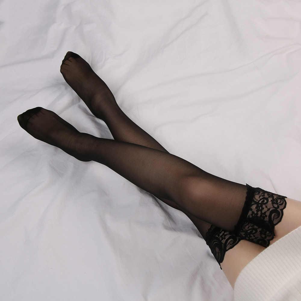 1 ชุดแฟชั่นผู้หญิงเซ็กซี่ลูกไม้ด้านบนต้นขาสูง-ถุงน่อง + Garter เข็มขัดสีดำสีขาว