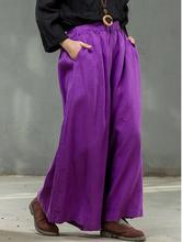 Solid Elastic waist Linen Cotton Women Harem Pants