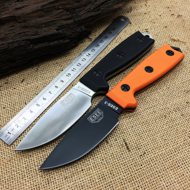 High Quality ESEE 3 Rowen Survival Fixed font b Knife b font 7Cr17Mov Blade G10 Handle