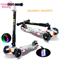 Infant Shining Scooter Child 2 14 years Ride on Toy, Foldable Easy Carry Boy and Girl Light Flash Bike Baby Swinging Slider