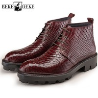 Autumn Winter Pointed Men Real Leather Ankle Boots Lace Up High Top Footwear Fashion Heighten Crocodile Grain Boots Hombre Black