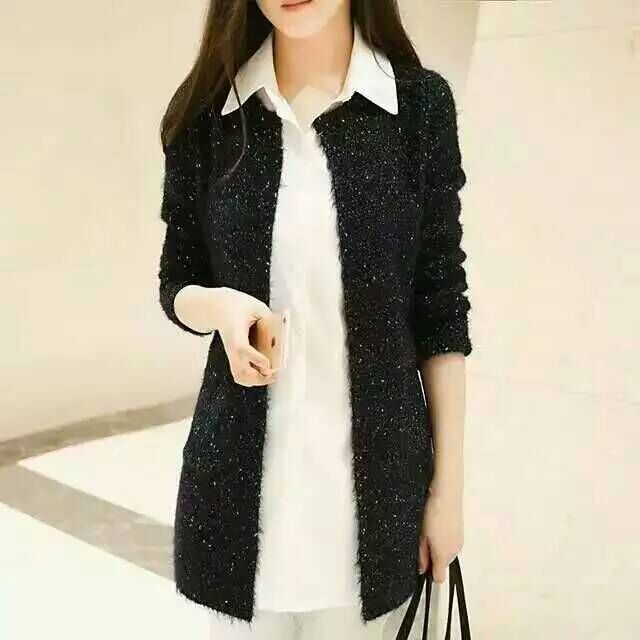 Sweaters Cardigans Female Korean-Style Autumn Long Winter Casual Women Knitted Stand-Collar