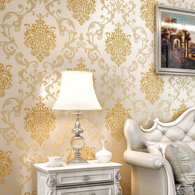 Europaischen Stil Rosa Gold Reis Gelb Vliestapete Bettwasche