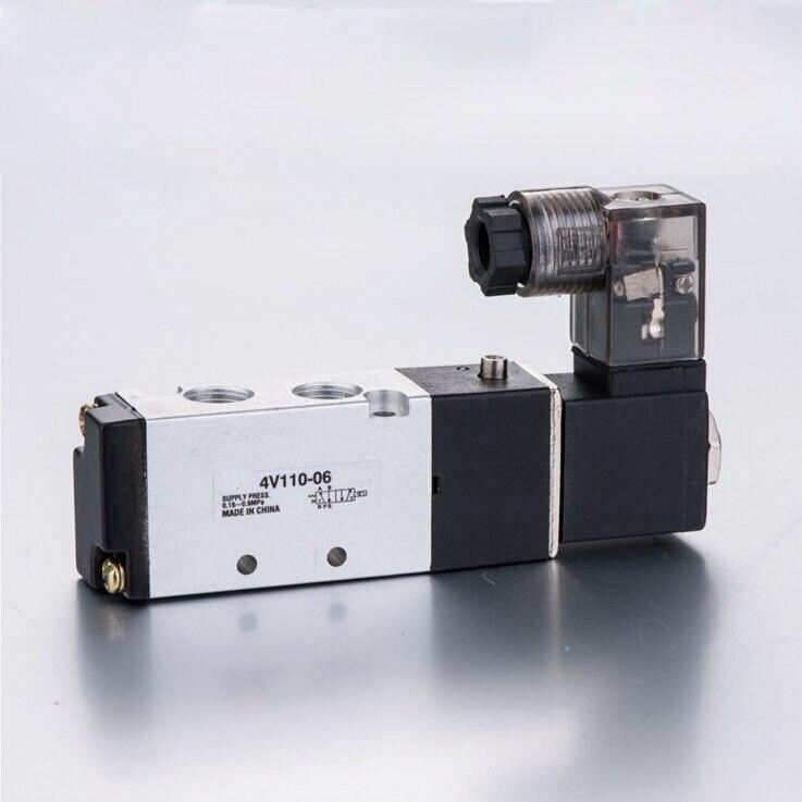 """1/8"""" Pneumatic Solenoid Air Valve 5 Port 2 Position 2/5 Way 1/8"""" BSP 4V110-06 With Wire DC 12V 24V AC110V 220V"""