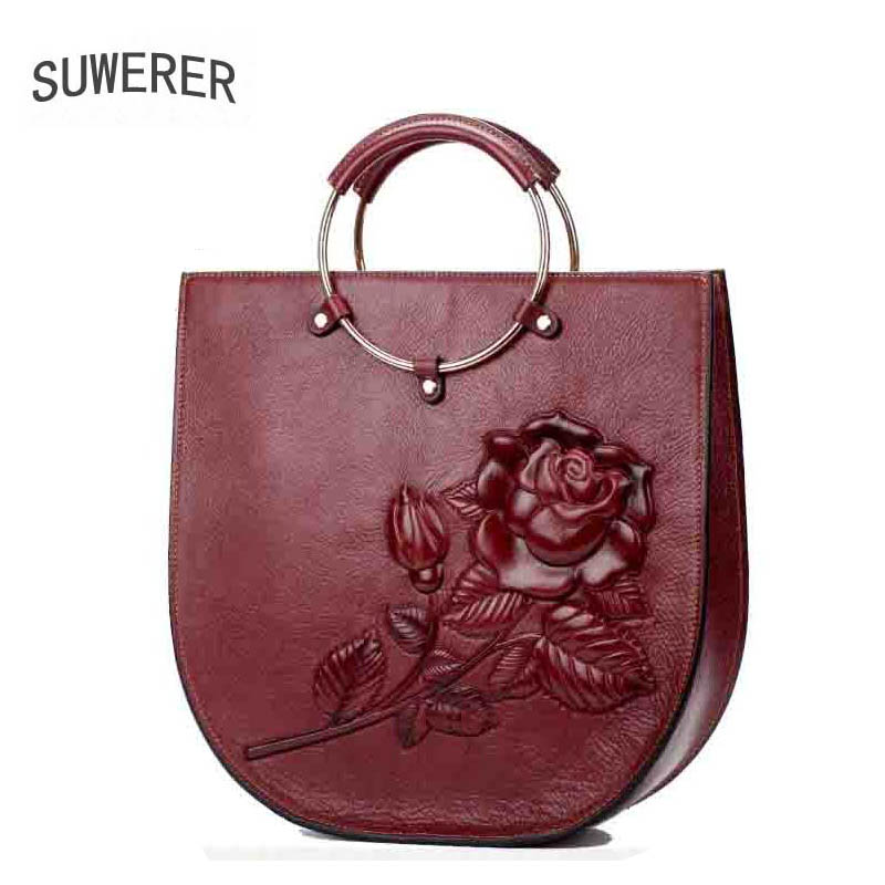 Suwerer Famous Brand Top Leather Handbags 2018 New Personalized Handbag Color Vintage Ethnic Style In Handle Bags From Luggage On