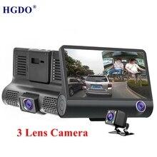 """HGDO Nuovo 3 Obiettivo di Macchina Fotografica Dell'automobile dvr 1080 P 4.0 """"Video Recorder Rear View170 Gradi di Visione Notturna Registrator Dash cam avtoregistrator"""