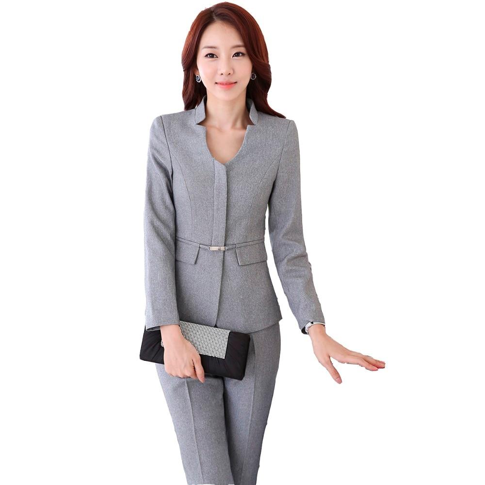 Autumn Work Wear Women Pant Suit Slim Fashion Elegant Formal Black Grey Long Sleeve Blazer With ...