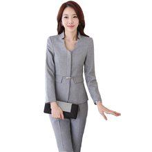 465f72918c Trabajo otoño desgaste mujeres pantalones traje formal elegante de la  manera delgada negro gris manga larga