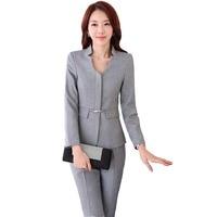 Autumn Work Wear Women Pant Suit Slim Fashion Elegant Formal Black Grey Long Sleeve Blazer With