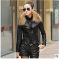 2016 Outono Nova Mulheres Genuine Racoon Dog Fur Collar Jaqueta de Couro Slim Gola de Algodão Mais 3XL jaqueta de couro Da Motocicleta