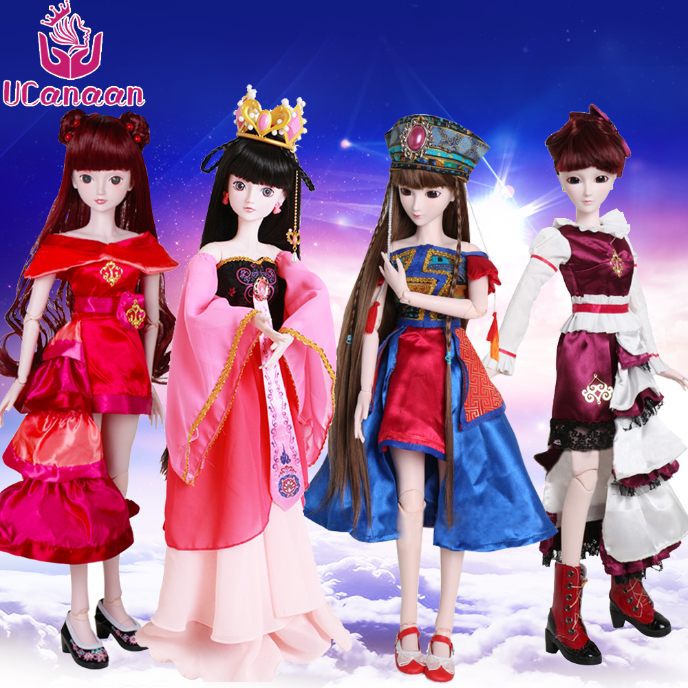 UCanaan 60cm Large BJD/SD Doll Toys 19-Jointed Body Cosplay Fashion Dolls with Clothes Outfit Shoes Wigs Hair Makeup Collection sweet cartoon girl doll with clothes 18inch sd bjd ball jointed dolly brown long hair for kids playhouse toys gift