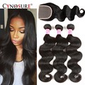 8A Malaysian Virgin Hair With Closure Body Wave 4pcs Wet And Wavy Malaysian Hair With Closure Remy Human Hair Extensions
