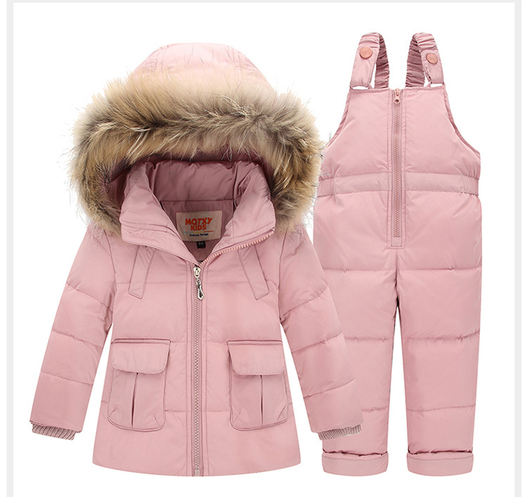 2-4 Years Children Duck Down Jacket Kids Snowsuit Winter Overalls For Boys Warm Jackets Outerwear Girls Suits Coat+Bib Pants winter suits for boys girls 2017 boys ski suit children clothing set baby duck down jacket coat overalls warm kids snowsuit