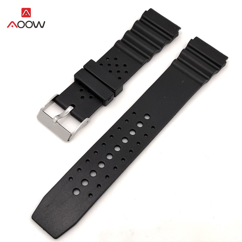 AOOW Generic Watchband Silicone Rubber Watch Strap Bands Waterproof Sport Straps 18mm 20mm 22mm Watches Belt