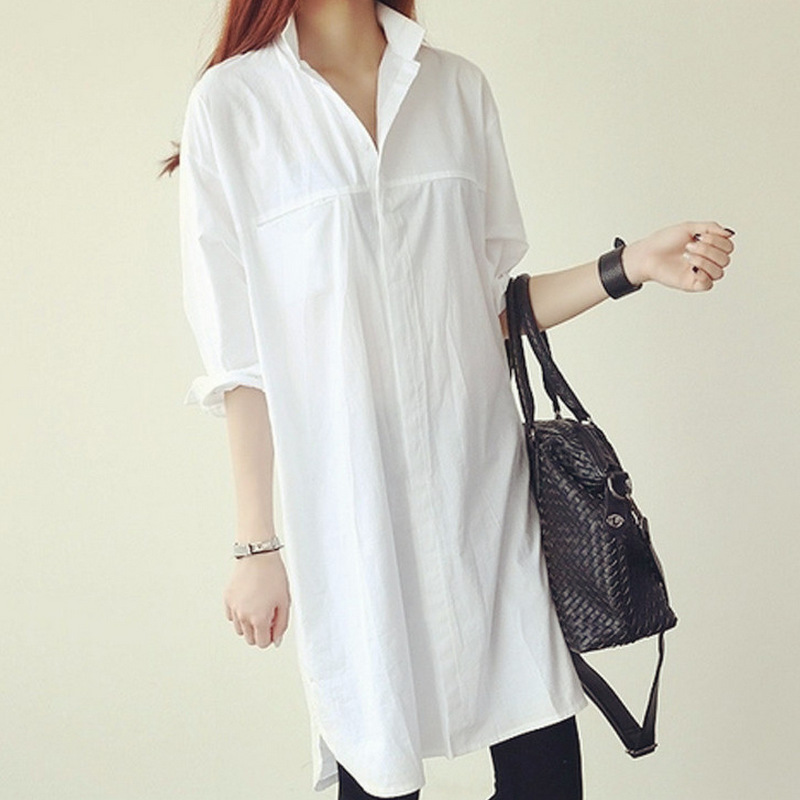 Female Oversized Spring Loose Full Sleeve Shirt Woman White Fall Plus Size Cotton Shirts Lady Mandarin Collar Knee Length Blouse