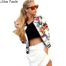 Bomber Jacket Folk-custom Floral Printing Women Baseball Jacket Zipper Bolero Women Chaquetas Mujer #2818