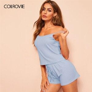 Image 5 - COLROVIE Pink Ribbed Cami Sexy Cami Pajamas Set 2019 Summer Female Top And Drawstring Shorts Women Sleeveless Sleepwear