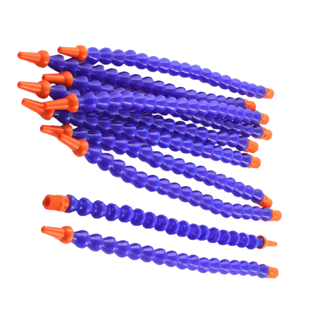 10PCS Round Nozzle 1/4PT Flexible Oil Coolant Pipe Hose Blue Orange