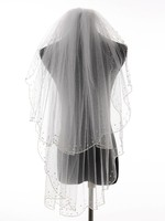 Charming Bead Edge Two Layers Wedding Accessories Tulle Bridal Veil With Comb Beading Veils