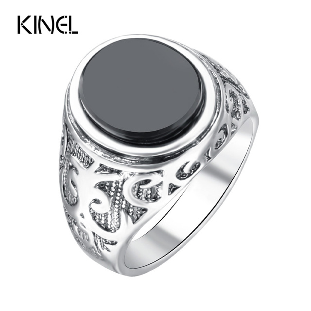 Punk Black Ring For Men Silver Plated Circular Surface Classic Pattern Fashion R