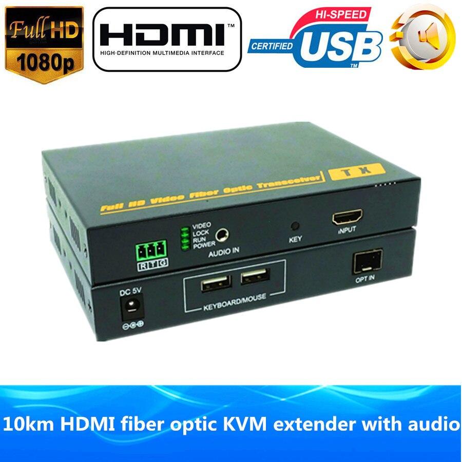 1080 p HDMI Fibra óptica USB KVM extender 10 km vía Fibra 1200 p HDMI Fibra óptica transmisor de audio estéreo convertidor de vídeo óptica