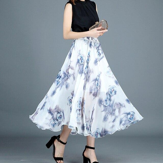 92fa7afdbb 2018 summer new ink printing chiffon retro elastic high waist slim mid-length  skirt ladies