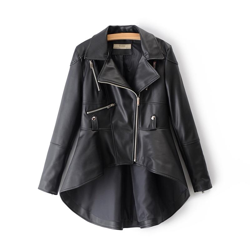 Autumn Female PU Faux   Leather   Black Jackets Women-s Asymmetrical Notched Collar Suits Ladies Silver Front Short Back Long Coats