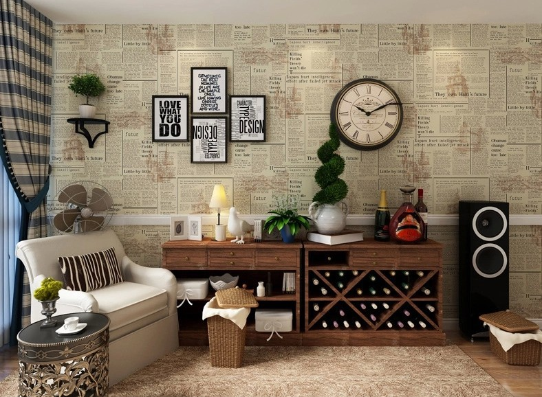 Vintage English Letter Wall Paper Newspaper Wallpaper Old