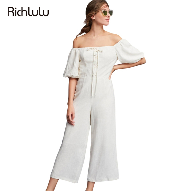 3034e2a7dc3 Richlulu White Sweet Jumpsuit Women Short Puff Sleeve Off Shoulder Wide Leg Rompers  Female Lace Up Slim Casual Jumpsuits Lady