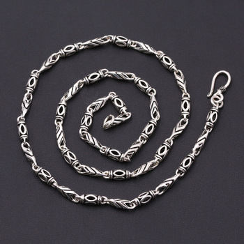 FNJ 4mm Punk Link Chain Necklaces 925 Silver 45cm to 60cm Fashion Original S925 Thai Silver Men Necklace Jewelry