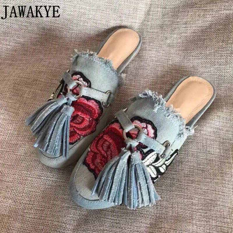 Spring summer round Toe embroidery flowers Flat Slippers blue jeans denim fringe tassel loafers mules puntufa beach Shoes Women велосипед scool nixe 16 2016